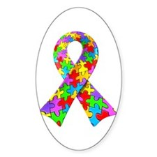 3D Puzzle Ribbon Oval Stickers