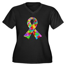 3D Puzzle Ribbon Women's Plus Size V-Neck Dark T-S