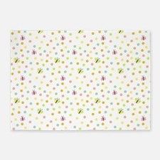 Butterflies and Polka Dots Pattern 5'x7'Area Rug