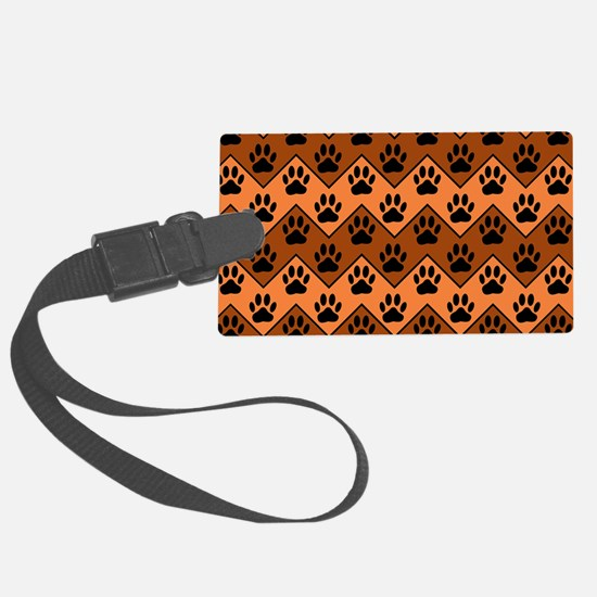 Orange And Brown Chevron With Do Luggage Tag
