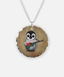 Baby Penguin Playing Welsh Flag Guitar Necklace Ci
