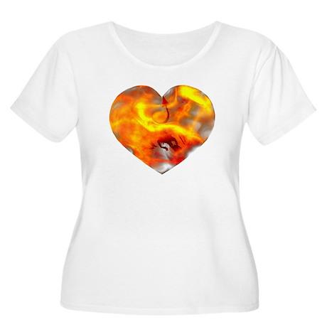 Fiery Dragon Heart/Love Plus Size Scoop Neck Tee