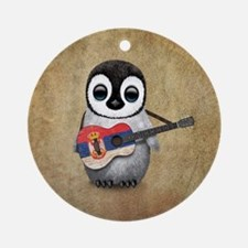 Baby Penguin Playing Serbian Flag Guitar Round Orn