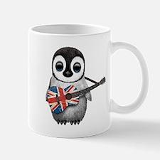 Baby Penguin Playing British Flag Guitar Mugs