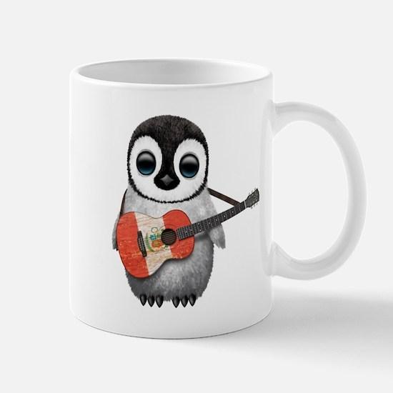 Baby Penguin Playing Peruvian Flag Guitar Mugs