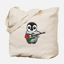 Baby Penguin Playing Palestinian Flag Guitar Tote