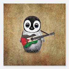 Baby Penguin Playing Palestinian Flag Guitar Squar