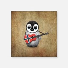 Baby Penguin Playing Norwegian Flag Guitar Sticker