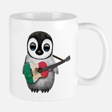 Baby Penguin Playing Mexican Flag Guitar Mugs