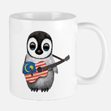 Baby Penguin Playing Malaysian Flag Guitar Mugs