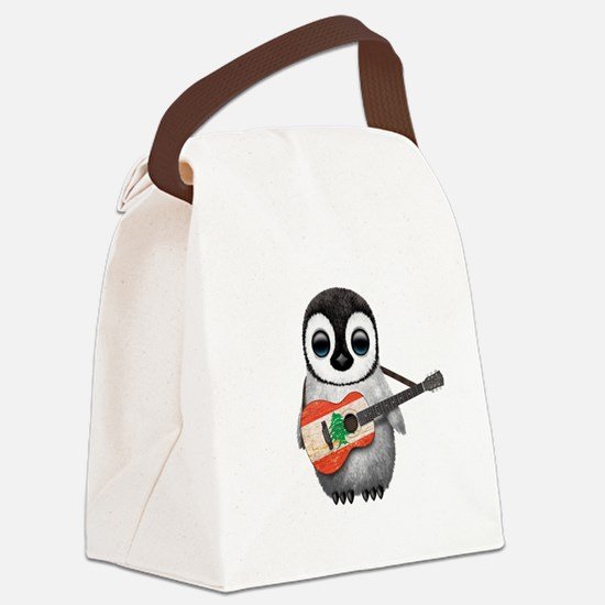 Baby Penguin Playing Lebanese Flag Guitar Canvas L