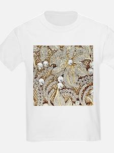 floral champagne gold rhinestone T-Shirt