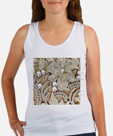 floral champagne gold rhinestone Tank Top