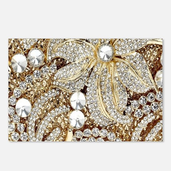 floral champagne gold rhi Postcards (Package of 8)