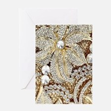 floral champagne gold rhinestone Greeting Cards