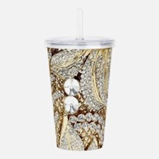 floral champagne gold Acrylic Double-wall Tumbler