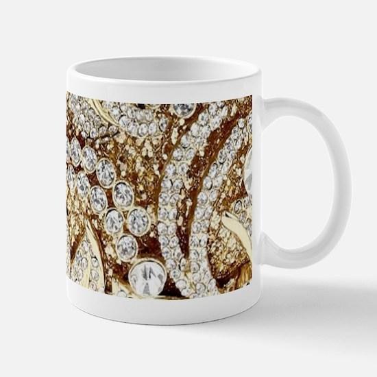 floral champagne gold rhinestone Mugs