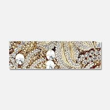 floral champagne gold rhinestone Car Magnet 10 x 3