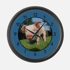 Pig With Blue Accents Large Wall Clock