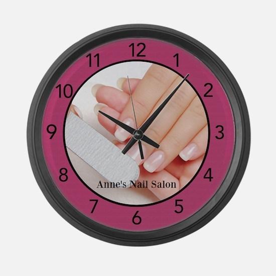 Nail Salon Pink Large Wall Clock