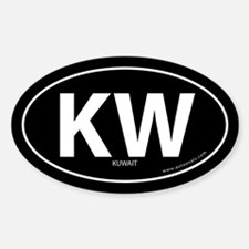 Kuwait country bumper sticker -Black (Oval)