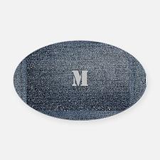 Cool Rustic Look Blue Denim Oval Car Magnet