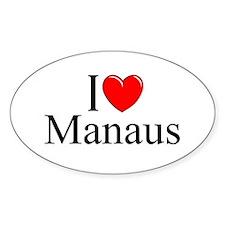 """I Love Manaus"" Oval Decal"