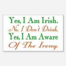 Ironic Sober Irish Rectangle Decal