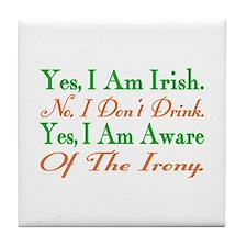 Ironic Sober Irish Tile Coaster