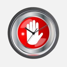 Stop Hand Button Wall Clock