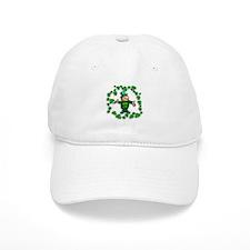 Leprechaun with Shamrocks Baseball Cap