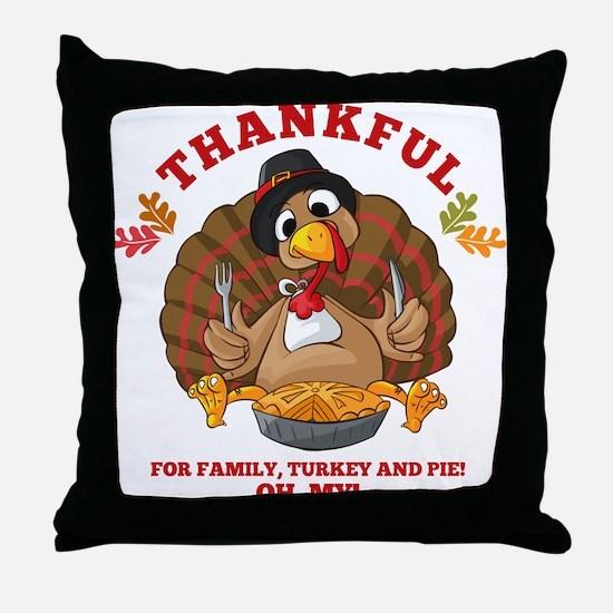 Thankful Family Turkey Pie Throw Pillow
