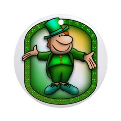 Wee Irish Leprechaun Ornament (Round)
