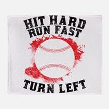 Hit Hard Run Fast Turn Left Throw Blanket