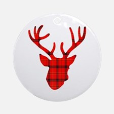 Deer Head: Rustic Red Plaid Round Ornament