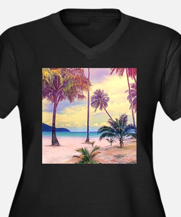 Tropical Bea Women's Plus Size V-Neck Dark T-Shirt