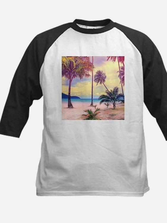 Tropical Beach Kids Baseball Jersey