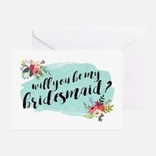 Elegant Floral Watercolor Bridesmaid Greeting Card