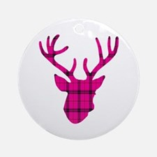Deer Head: Pink Plaid Round Ornament