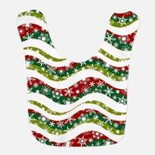 Christmas waves and snowflakes Polyester Baby Bib