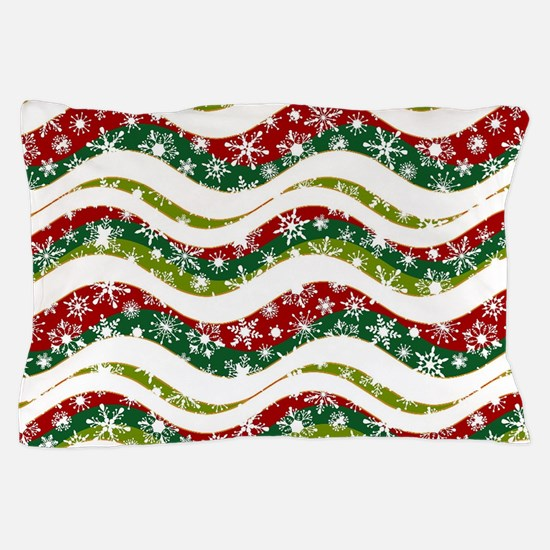 Christmas waves and snowflakes Pillow Case