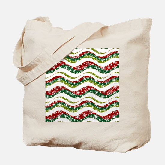 Christmas waves and snowflakes Tote Bag