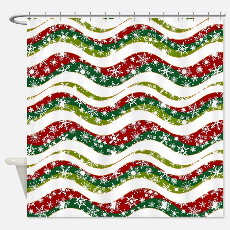 Christmas waves and snowflakes Shower Curtain