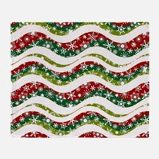 Christmas waves and snowflakes Throw Blanket