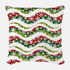 Christmas waves and snowflakes Woven Throw Pillow