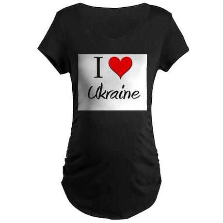 I Love Uganda Maternity Dark T-Shirt