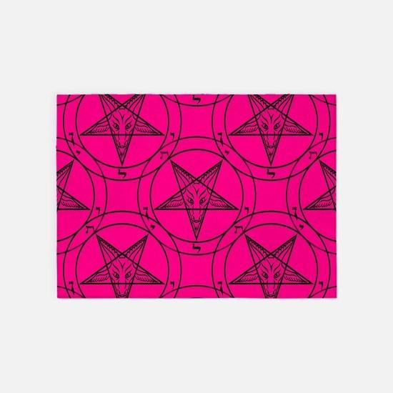 pink baphomet 5'x7'Area Rug