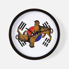 Korean Tigers Wall Clock