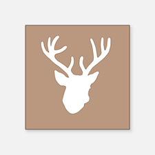 "Deer Head: Rustic Beige Square Sticker 3"" x 3"""
