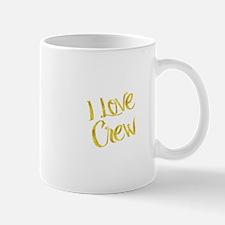 I Love Crew Gold Faux Foil Metallic Motivatio Mugs